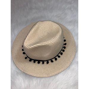 f83eaabfd2cb5 Straw Panama Pom Pom Trim Hat One Size